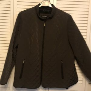 Lane Bryant Brown Quilted Zip Up Jacket